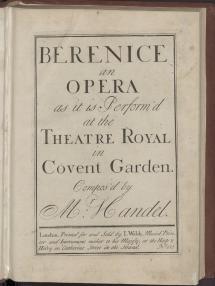 """Abbildung 3 - Händel, Georg Friedrich: Berenice an opera as it is Perform'd at the Theatre Royal in Covent Garden / Compos'd by Mr: Handel. - [Partitur]. - London : Walsh, [ca. 1737]. - [1], 82 S. Smith (1960), S. 21, Nr. 2 Die Uraufführung von Händels Oper """"Berenice, Regina d'Egitto"""" (HWV 38) fand am 18. Mai 1737 in London, im Theatre Royal, Covent Garden, statt. Der Beabeiter des Librettos ist unbekannt. Es basiert auf einer Vorlage von Antonio Salvi (1664-1724). Die Titelgestalt geht auf die ägyptische Königin Berenice III. zurück, die den unter dem Einfluss des römischen Diktators Sulla stehenden Ptolemaios XI. Alexander II. (= """"Alessandro"""") heiratete und von diesem nach kurzer Ehe ermordet wurde. In der Opernhandlung spielt der Mord jedoch keine Rolle: Rom will, dass Berenice Alessandro heiratet, doch Berenice liebt Demetrio. Demetrio aber liebt Berenices Schwester Selene. Selene wiederum wird von Arsace (Prinz und Vasall) begehrt. Demetrio und Selene planen die Absetzung Berenices, um selber zum Königspaar zu werden. Es kommt zu einer Verkettung aus diversen Missverständnissen und Intrigen. Demetrio gerät in Berenices Gefangenschaft. Der römische Gesandte Fabio droht mit Krieg, um eine standesgemäße Braut für Alessandro zu erzwingen. Alessandro will jedoch nur aus Liebe heiraten und weigert sich, an Berenices Absetzung mitzuwirken. Berenice erkennt, wie sehr er sie liebt und wie treu er ihr ist. Sie ändert ihre Meinung und heiratet ihn. Demetrio wird begnadigt und kann Selene heiraten. Die Erstausgabe dieser Oper erschien etwa 1 Monat nach der Uraufführung im Londoner Musikverlag von John Walsh. Bei diesem Exemplar handelt es sich um einen Nachdruck aus dem selben Jahr. Die einzige Änderung gegenüber dem ersten Druck besteht in den eingefügten Buchstaben """"D. C."""" am Fuß von S. 10. Am Beginn der Arien werden die Namen der jeweiligen Sänger der Uraufführung genannt (Anna Strada del Pò, John Beard, Gioacchino Conti, Domenico Annibali = """"Hannibali"""", Francesca Berto"""